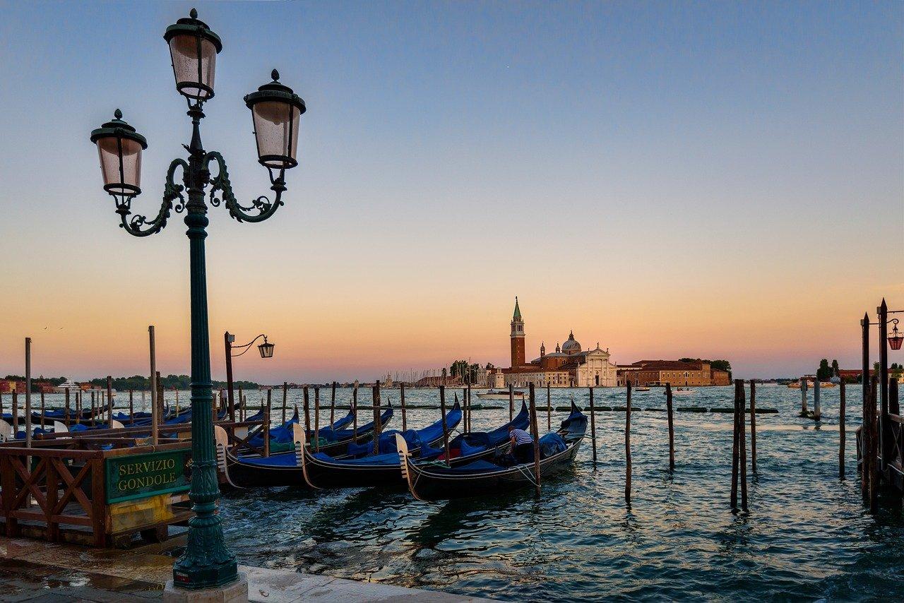 venice, gondola, sunset